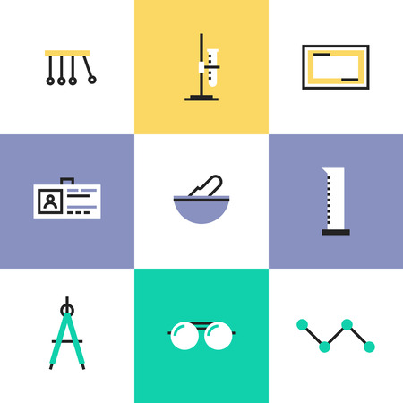 Science experiment and chemistry analysis tools, perpetual motion machine, tools for various mathematical purposes. Unusual line icons set, flat design abstract pictogram vector illustration concept.
