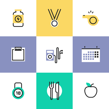 dieting: Fitness dieting and physical activity, sport and gym items, healthy food serving, weight loss, lifestyle relaxation. Unusual line icons set, flat design abstract pictogram vector illustration concept.
