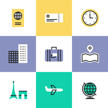 tour guide: Business travel via airplane flight, tourist luggage and plane tickets, city landmark and world symbol. Unusual line icons set, flat design abstract pictogram vector illustration concept.