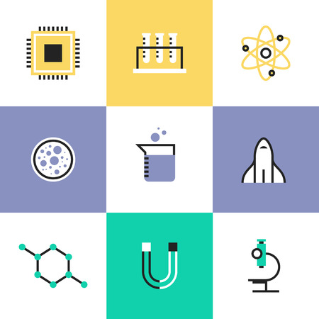 Science experiment and research analysis, chemistry tools, biology  equipment, atom physics and molecule symbol. Unusual line icons set, flat design abstract pictogram vector illustration concept.
