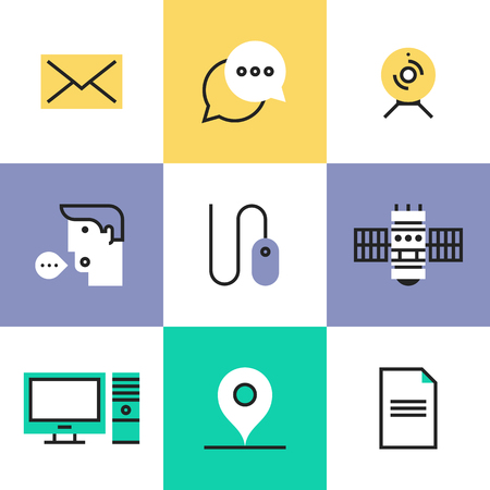Modern communication technology for business, computer interface elements, social networking connection. Unusual line icons set, flat design abstract pictogram vector illustration concept.