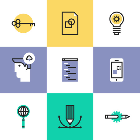 SEO studio service, website optimization process, web page coding programming, success idea, mobile app development. Unusual line icons set, flat design abstract pictogram vector illustration concept. Vector