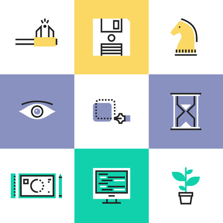 Creative studio workflow, effective business solution, market tactics and strategy decision, create success project. Unusual line icons set, flat design abstract pictogram vector illustration concept. Illustration