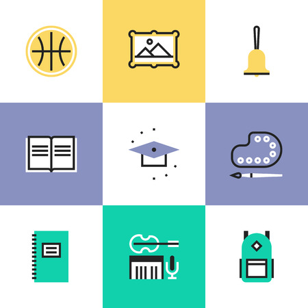 Education objects and elementary school items, art and music symbol, student equipment. Unusual line icons set, flat design abstract pictogram vector illustration concept. Vector