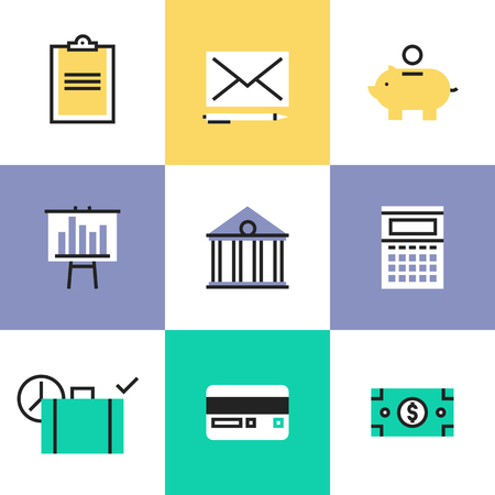 Finance and money symbol, saving analysis, financial investment, banking accounting, business development project. Unusual line icons set, flat design abstract pictogram vector illustration concept.