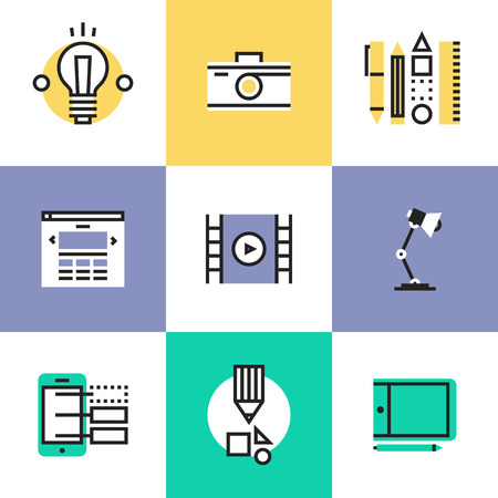 Web studio and graphic design services, creative idea develop, website interface create, photo and video production. Unusual line icons set, flat design abstract pictogram vector illustration concept.