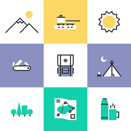 Hiking equipment and camping tent, outdoor adventure activities, wild tourism and wilderness mountain exploration. Unusual line icons set, flat design abstract pictogram vector illustration concept. Vector