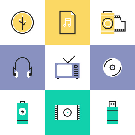audio video: Multimedia objects, audio and video items like tv set, headphones, audio file and usb connection interface. Unusual line icons set, flat design abstract pictogram vector illustration concept.