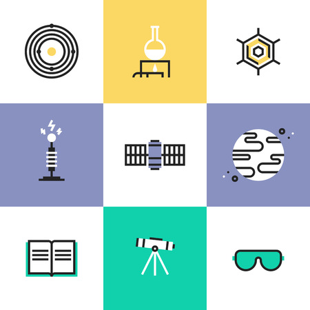 Science experiment and space mission discovery, chemistry research analysis, solar system and astronomy education. Unusual line icons set, flat design abstract pictogram vector illustration concept. Illustration
