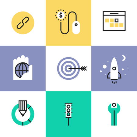 SEO optimization process, startup website development and usability testing, link building and traffic metrics tools. Unusual line icons set, flat design abstract pictogram vector illustration concept.