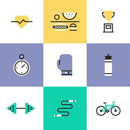 actividad fisica: Fitness, deporte y estilo de vida saludable: la actividad f�sica, premiado, r�gimen alimenticio, el bienestar, el cuerpo humano. Iconos de l�neas inusual Conjunto, dise�o plano pictograma ilustraci�n vectorial abstracto concepto. Vectores