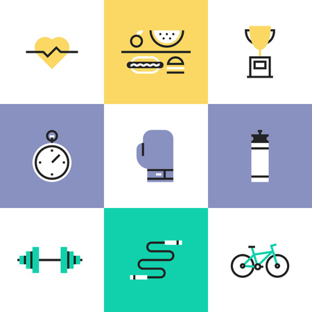 Fitness, sport and healthy lifestyle: physical activity, award winning, dietary regime, well-being, human body. Unusual line icons set, flat design abstract pictogram vector illustration concept. Illustration