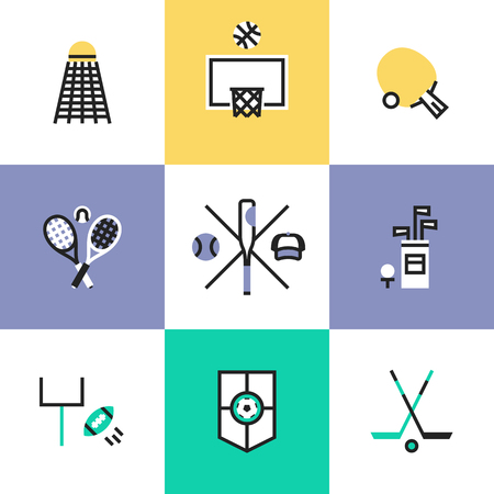 objects equipment: Most popular sports symbol around the globe – soccer, basketball, golf, tennis, hockey, rugby, baseball. Unusual line icons set, flat design abstract pictogram vector illustration concept.