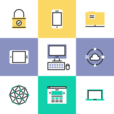 security technology: Cloud computing technology, social networking communication, digital devices, website access and computer security. Unusual line icons set, flat design abstract pictogram vector illustration concept.