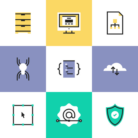 Website development services, cloud computing connection, network security, user interface coding and programming. Unusual line icons set, flat design abstract pictogram vector illustration concept.