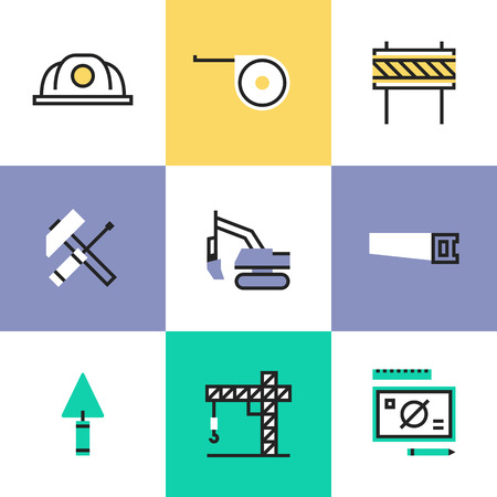 building industry: Construction crane symbol, building industry objects, industrial engineering tools, professional builder items. Unusual line icons set, flat design icon abstract pictogram vector illustration concept. Illustration