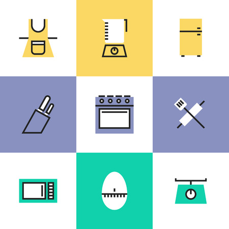 battledore: Kitchen utensils and kitchenware electronics equipment for any cooking or food preparation task. Unusual line icons set, flat design icon abstract pictogram vector illustration concept.