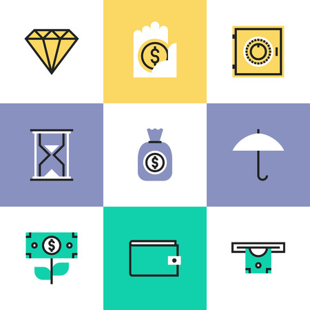 savings account: Financial insurance, money savings and protection, business capital growth, bank account and banking deposit. Unusual line icons set, flat design icon abstract pictogram vector illustration concept.