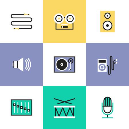 speaker: El volumen del sonido y objetos de altavoces de audio, reproductor de m�sica, instrumento musical, disco de vinilo, el enchufe de cable. Iconos de l�neas inusual Conjunto, plana icono del dise�o pictograma ilustraci�n vectorial abstracto concepto.