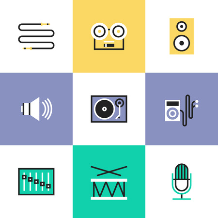 fader: Sound volume and audio speaker objects, music player, musical instrument, vinyl record, cable interface plug. Unusual line icons set, flat design icon abstract pictogram vector illustration concept.