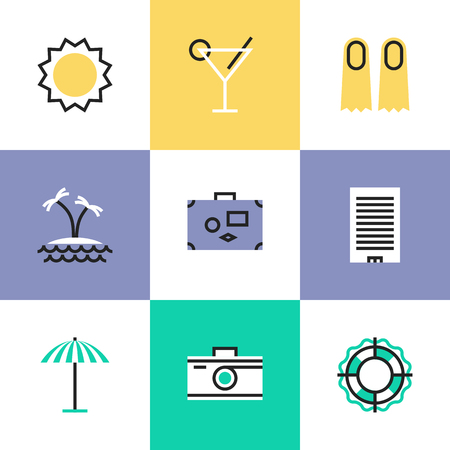 taking picture: Summer vacation and travel to tropical paradise, swimming and diving relaxation, taking picture on a camera. Unusual line icons set, flat design icon abstract pictogram vector illustration concept.