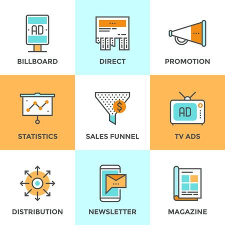 Icônes de ligne définies avec des éléments de design plat de produits de publicité et de promotion, panneaux publicitaires en plein air, campagne de marketing mobile, canal de publicité dans les médias. Concept de collection de pictogramme de vecteur moderne