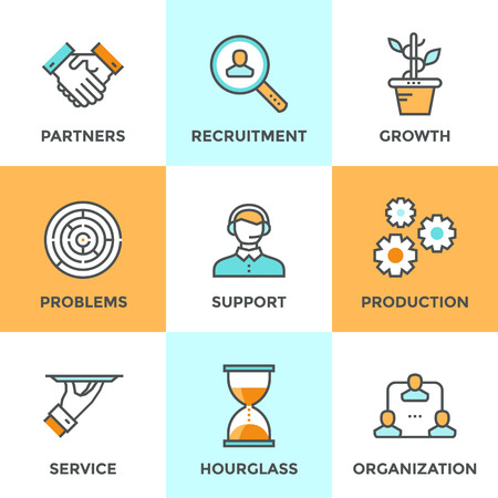 business teamwork: Line icons set with flat design elements of business people communication, professional support, partnership agreement, solving management problems. Modern vector pictogram collection concept.