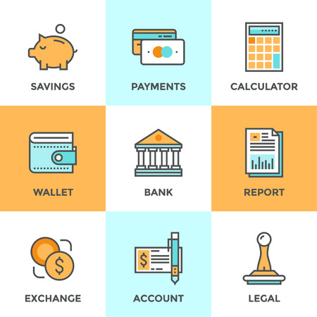 financial item: Line icons set with flat design elements of finance objects and banking services, financial items and money symbol, bank building and currency exchange. Modern vector pictogram collection concept.