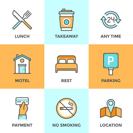 overnight: Icone linea set con elementi di design piani di servizi di alloggio motel, piccolo hotel servizi generali, parcheggio e nessun segno di fumare, aperto per 24 ore. Moderno concetto di raccolta vettore pittogramma. Vettoriali