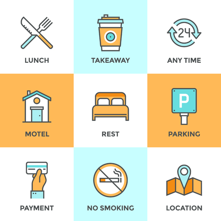 amenities: Line icons set with flat design elements of motel accommodation services, small hotel general amenities, parking and no smoking sign, open for 24 hours. Modern vector pictogram collection concept. Illustration
