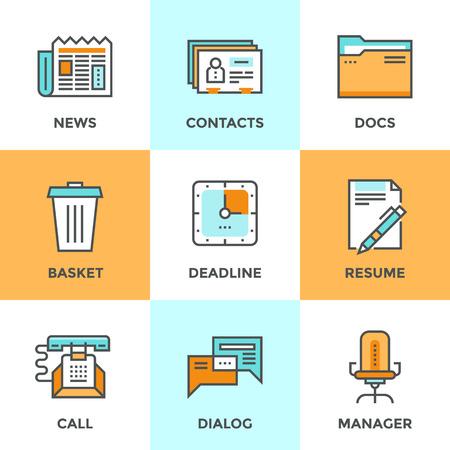 contabilidad: Iconos de comunicaci�n establecen con elementos de dise�o planos de proceso de gesti�n de oficina, organizaci�n empresarial, la selecci�n de los recursos humanos y los contactos corporativos. Moderno concepto de vectores colecci�n pictograma.