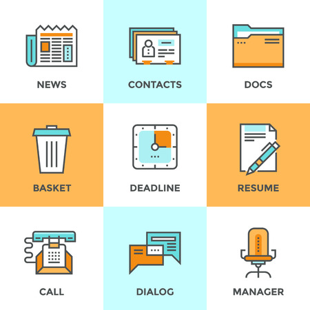 newspaper articles: Line icons set with flat design elements of office management process, business organization, selection of human resources and corporate contacts. Modern vector pictogram collection concept.