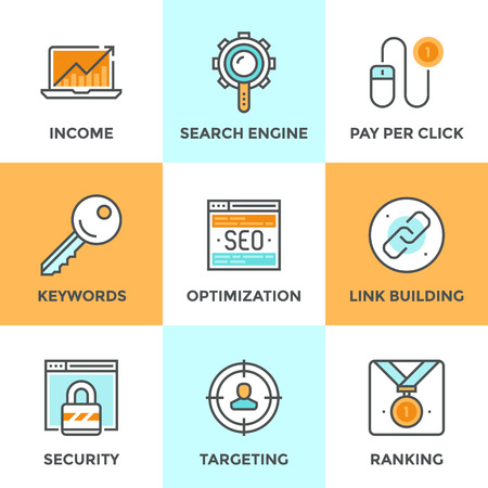 results: Line icons set with flat design of search engine optimization, optimize website with SEO for traffic growth and rank result, keywording and link building. Modern vector pictogram collection concept. Illustration