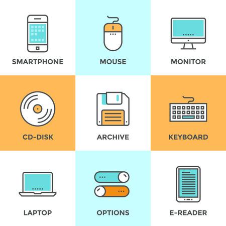 Lijn pictogrammen die met platte design elementen van diverse technologische apparaten en objecten met behulp van voor het invoeren, het lezen en opslaan van informatie. Moderne vector pictogram collectie concept.