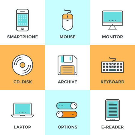 devices: Line icons set with flat design elements of various technology devices and objects using for entering, reading and saving information. Modern vector pictogram collection concept. Illustration