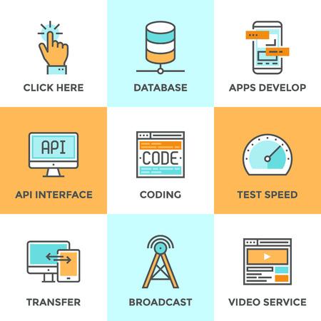 Iconos de comunicación establecidos con diseño plano de aplicación desarrollan con interfaz API, el sitio web de codificación y pruebas, los grandes datos y la creación de redes de bases de datos, transferencia de tecnología móvil. Moderno concepto de vectores colección pictograma. Vectores