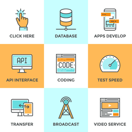 Line icons set with flat design of app develop with API interface, website coding and testing, big data and database networking, mobile transfer technology. Modern vector pictogram collection concept.