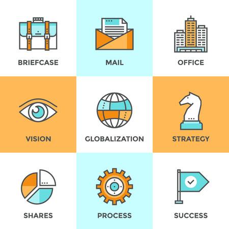 ビジネスの効果的なソリューション、成功の戦術と戦略の決定、グローバル化とインターネット通信のフラットなデザイン要素を持つ行のアイコン  イラスト・ベクター素材