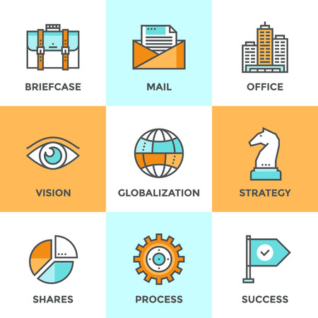 comunicazione: Icone linea set con elementi di design piani di soluzione di business efficace, le tattiche di successo e la decisione di strategia, la globalizzazione e la comunicazione internet. Moderno concetto di raccolta vettore pittogramma. Vettoriali