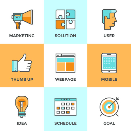 comunicazione: Icone linea set con elementi di design piani di promozione di marketing digitale e soluzioni media web efficace, sviluppo dell'idea successo per la campagna internet. Moderno concetto di raccolta vettore pittogramma.
