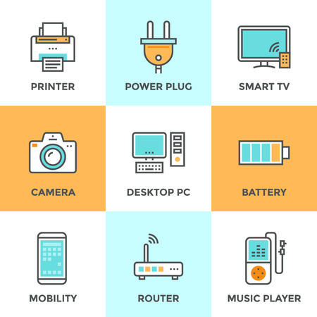 Line icons set with flat design elements of consumer electronics and computer technology devices, power plug and energy battery. Modern vector pictogram collection concept.