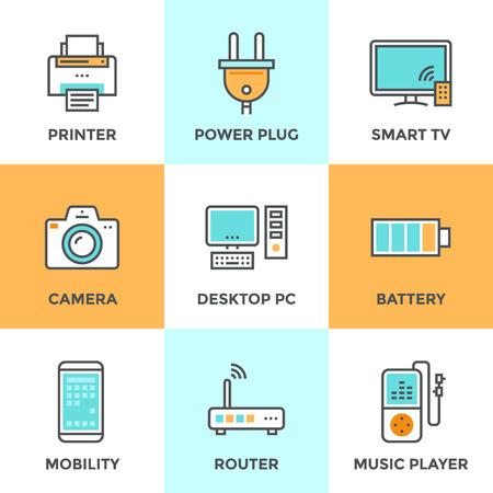 Linie Icons mit flachen Design-Elemente der Unterhaltungselektronik und Computertechnik-Geräte, Netzstecker und Energiebatterie gesetzt. Moderne Vektor Piktogramm Sammlungskonzept. Vektorgrafik