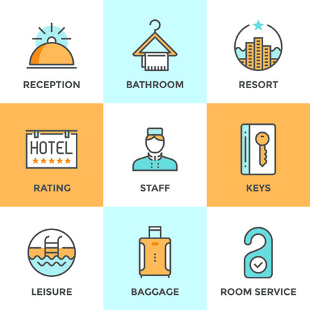 Line icons set with flat design elements of hotel services and luxury resort accommodation, reception bell, room keys, leisure activity, tourist baggage. Modern vector pictogram collection concept. Çizim