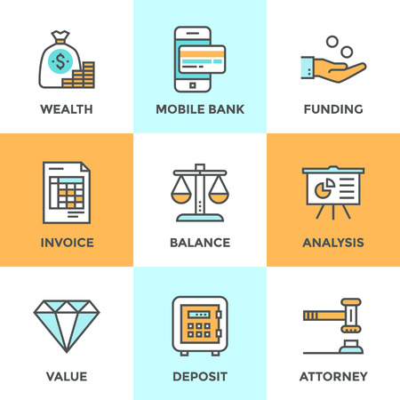charity: Line icons set with flat design elements of financial investment for development business project, mobile banking and accounting tools, safe deposit service. Modern vector pictogram collection concept.
