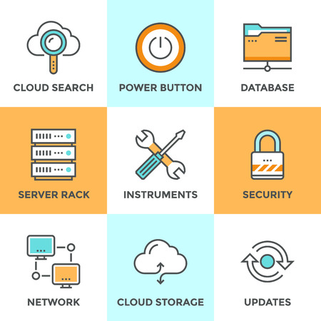 hardware configuration: Line icons set with flat design elements of cloud computing communication technology, internet hosting service, network folder sharing, technical tools. Modern vector pictogram collection concept. Illustration
