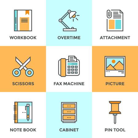 articulos de oficina: Iconos de comunicaci�n establecen con elementos de dise�o planos de herramienta de oficina y utensilios, equipos comerciales para la tarea cotidiana, el papeleo y el objeto de rutina. Moderno concepto de vectores colecci�n pictograma.