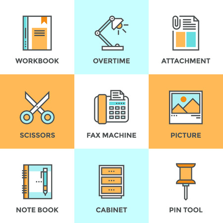 Line icons set with flat design elements of office tool and utensil, business equipment for everyday task, paperwork and routine object. Modern vector pictogram collection concept.
