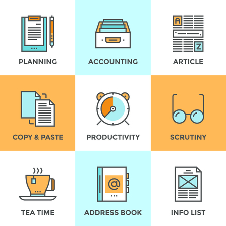accounting design: Line icons set with flat design elements of office accounting and clerk working routine,  business planning, paperwork routine, personal time management. Modern vector pictogram collection concept.