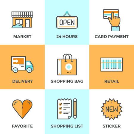 negozio: Icone linea set con elementi di design piane di servizi al dettaglio e vendita beni di mercato, di shopping e di acquisto di prodotti, servizi di logistica e la scansione di prezzo. Moderno concetto di raccolta vettore pittogramma. Vettoriali