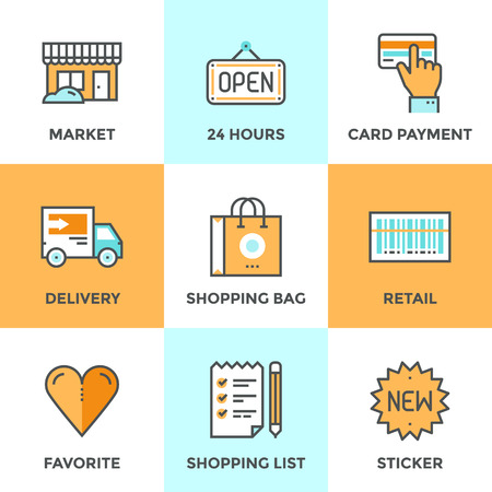 retail: Line icons set with flat design elements of retail services and market goods selling, shopping and buying products, logistics services and price scanning. Modern vector pictogram collection concept. Illustration